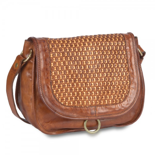Shoulder bag large honeycomb woven cowhide-p/ C023050ND X1411