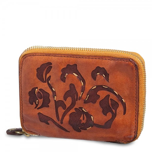 Wallet zip around cow.+floral taser+seams-p/d C002060ND X1410